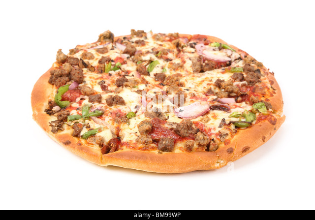 Cheese Pizza with white background, close up - Stock Image