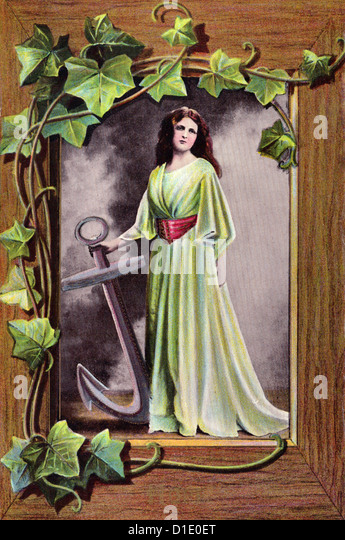 Woman standing with anchor - Vintage postcard - Stock Image
