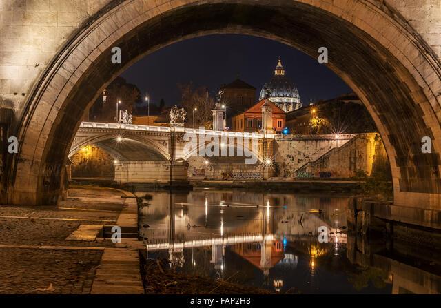 Rome, Italy: St. Peter's Basilica and Saint Angelo Bridge - Stock Image