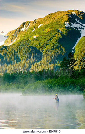Angler flyfishing for Rainbow Trout in Portage Valley on a misty morning, Alaska - Stock Image