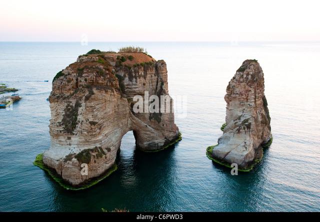Pigeon Rocks. Beirut, Lebanon - Stock Image