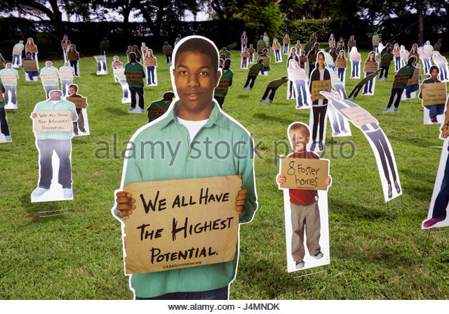 Miami Florida Bayfront Park National CASA Forgotten Children Campaign foster care public event raise awareness photo - Stock Image