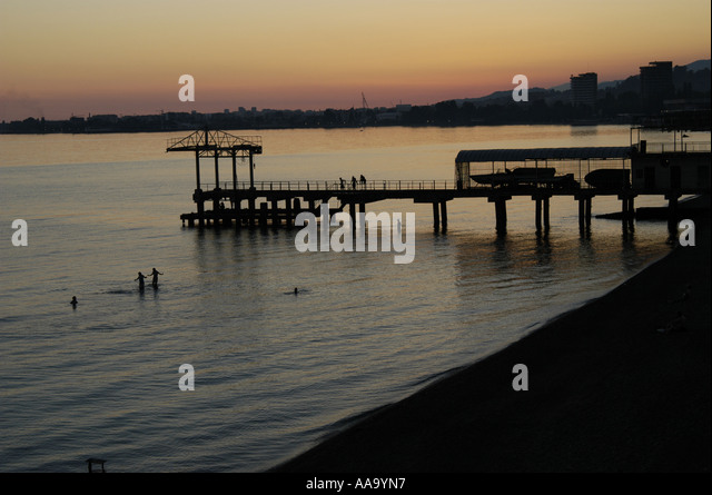 The harbour of Sukhumi, capital of Abkhazia, by night - Stock Image