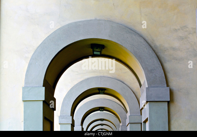 Series of concrete arches in Italy Florance - Stock-Bilder