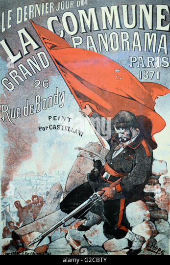 Vintage or Antique Poster Advertising 'Le Dernier Jour de la Commune' or The Commune during the French Revolution - Stock Image