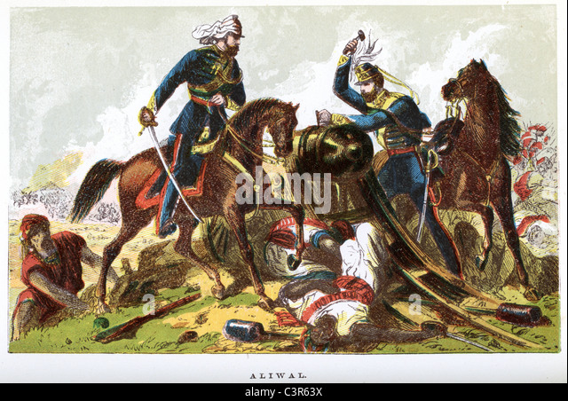 The Battle of Aliwal was fought on 28 January 1846 between the British and the Sikhs. - Stock Image