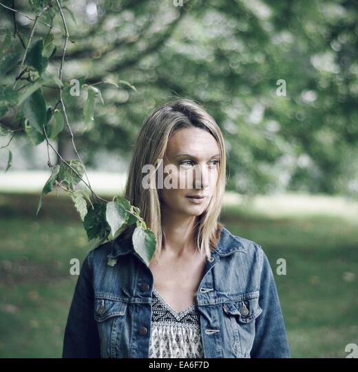 Portrait of blonde woman - Stock Image