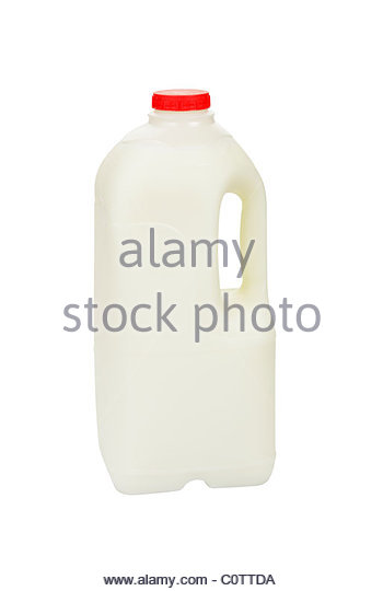 Bottle of skimmed milk. - Stock Image