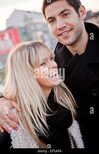 Portrait of young couple falling in love - Stock-Bilder