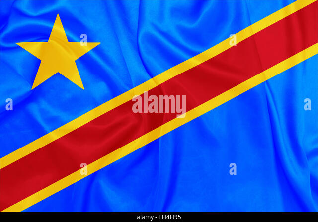 Democratic republic of The Congo - Waving national flag on silk texture - Stock-Bilder