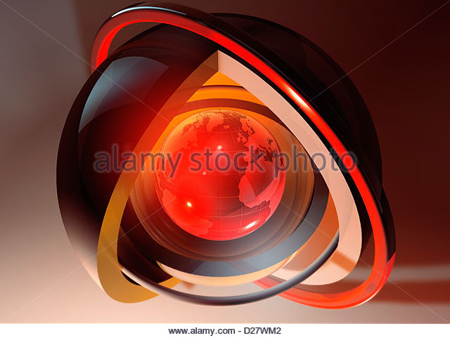 Abstract glowing red globe at core of concentric spheres - Stock Image