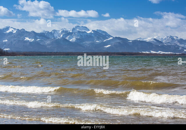 foehn, storm in the northern Alps arriving from the south, across Lake Chiemsee, the Alps in background, Germany, - Stock Image