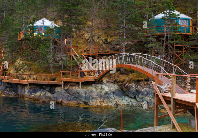 Orca Island Cabins, Humpy Cove, Resurrection Bay, Seward, Alaska.   Stock