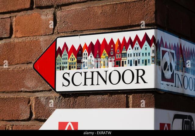 Direction sign to Schnoor quarter, Bremen, Germany. - Stock Image