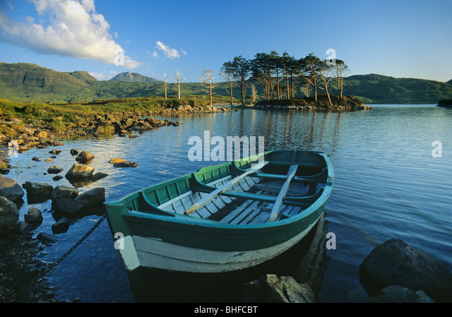 Rowing boat, Loch Assynt, Highlands, Sutherland, Scotland, Great Britain, Europe - Stock Image