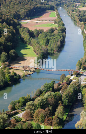 wooden bridge Tatzelwurm about Main Danube channel near Essing, nature reserve Altmuehl valley, Lower Bavaria, Germany - Stock Image
