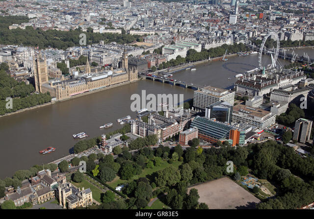 aerial view of St Thomas' Hospital in Lambeth, Houses of Parliament & Millennium Wheel, London, UK - Stock Image