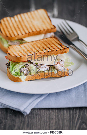 Close up of two tuna sandwiches on plate - Stock Image