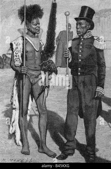 geography/travel, Lesotho, people, Basuto, Chief David Masupha and his general, engraving, circa 1900, South Africa, - Stock Image