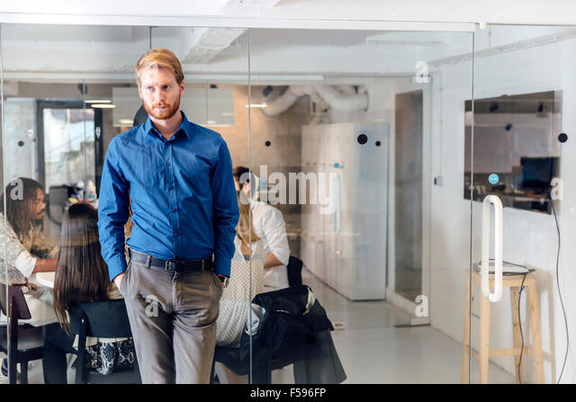 Business meeting and brainstorming in beautiful office - Stock Image
