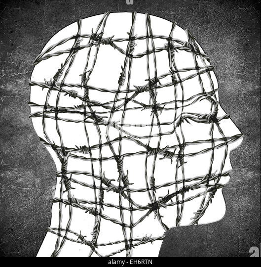 head silhouette with barbed wire digital illustration - Stock Image