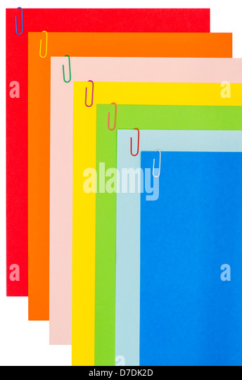 Rainbow Stationery With Paper-Clips 03 - Stock Image