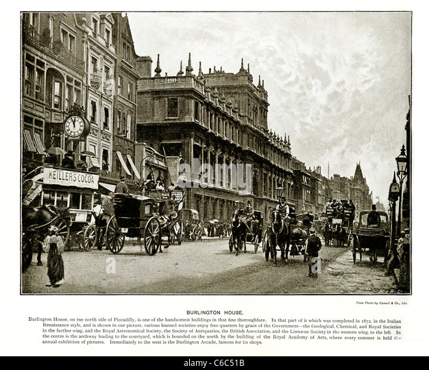 Burlington House, Piccadilly, London, 1897 Victorian photo looking East at the building containing the Royal Academy - Stock Image