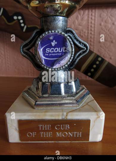 The Cub of the month trophy a bit weather worn but valued by the recipient - Stock Image