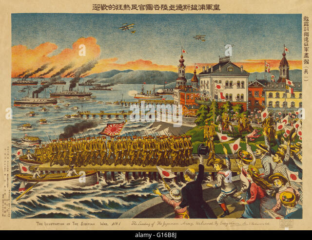 Entitled: 'The landing of the Japanese army. Welcomed by every nation at Vladivostok.' In the wake of the - Stock Image