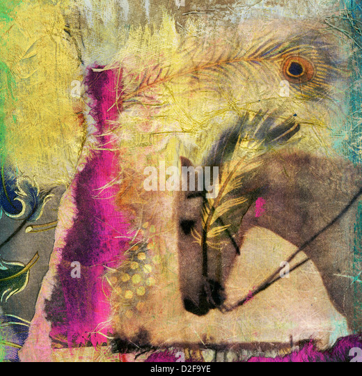 White horse photo based mixed medium collage.  - Stock Image