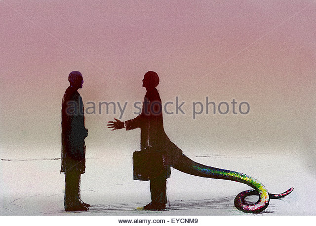 Businessman with snake tail greeting coworker - Stock Image
