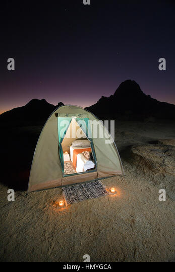 Luxury camping tent - Stock Image