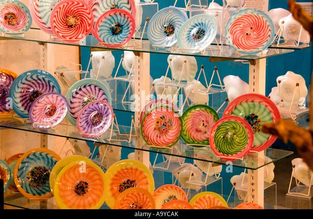 Bermuda Dockyard Glassworks plates decorations shopping souvenirs - Stock Image