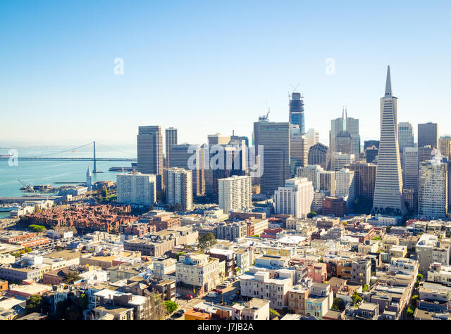 The sensational skyline of downtown San Francisco, California as seen from atop Coit Tower on Telegraph Hill. - Stock Image