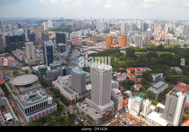 Singapore city skyline skyscrapers aerial Singapore River New Supreme Court Treasury North Bridge Road Fort Ft. - Stock Image
