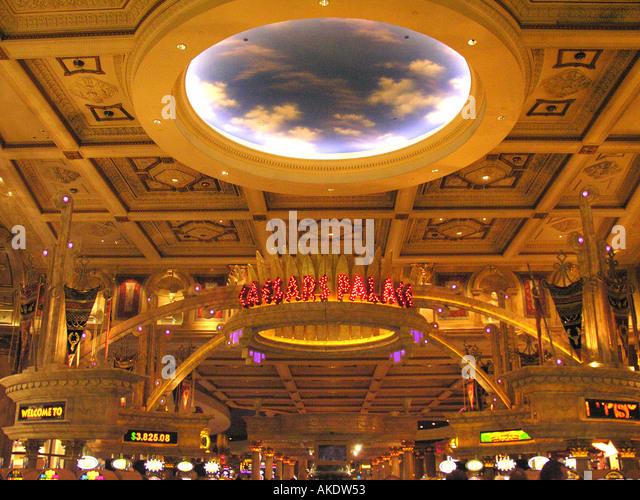 Las Vegas Nevada Las Vegas strip Caesars Palace casino entrance sign world globe overhead - Stock Image