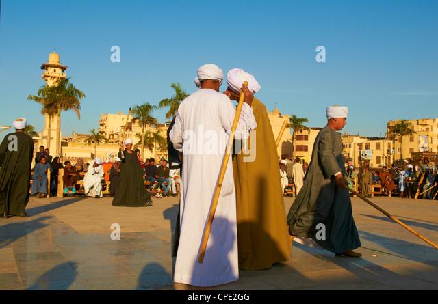 Tahtib demonstration, Mosque of Abu el-Haggag, Luxor, Egypt - Stock Image