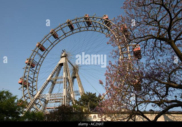 Vienna Austria Prater Big Wheel in spring - Stock Image