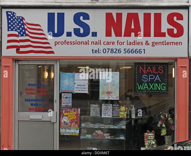 unisex nails shop for men and women in Warrington, Cheshire England UK WA1 - Stock Image