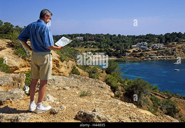 Ibiza, Cala Porroig, coast, bay, tourist, map, Spain, the Balearic Islands, island Ibiza, Porroig, Parroig, man, - Stock Image