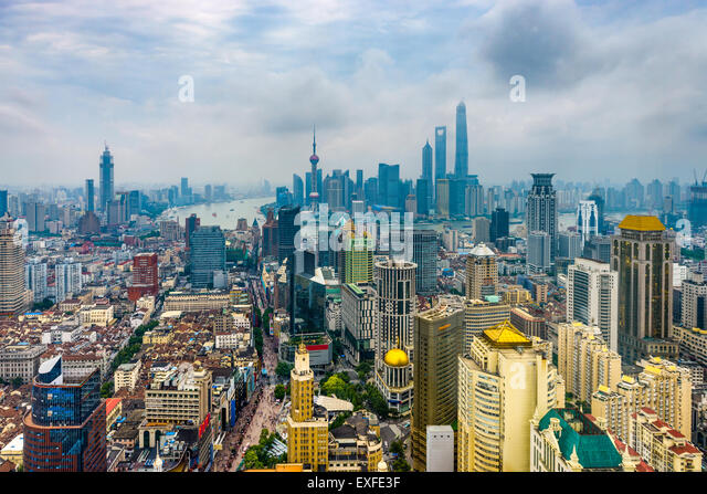 Shanghai, China aerial skyline. - Stock Image