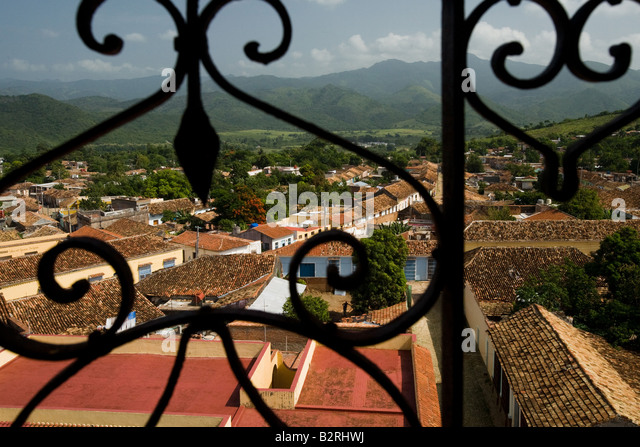 View from the bell tower of the San Francisco de Asis convent over Trinidad, Cuba - Stock Image
