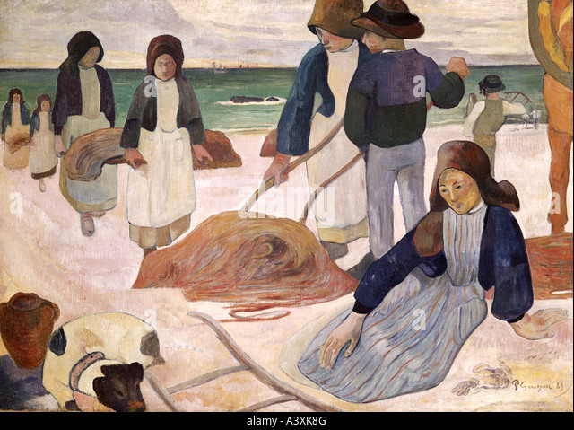 'fine arts, Gauguin, Paul, (1848 - 1903), painting, 'Breton seaweed collectors', 1889, Folkwang Museum, - Stock Image