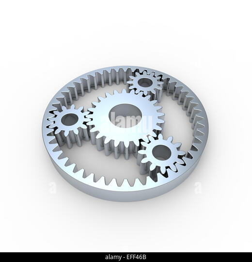 steel planetary gears on a white background - Stock Image