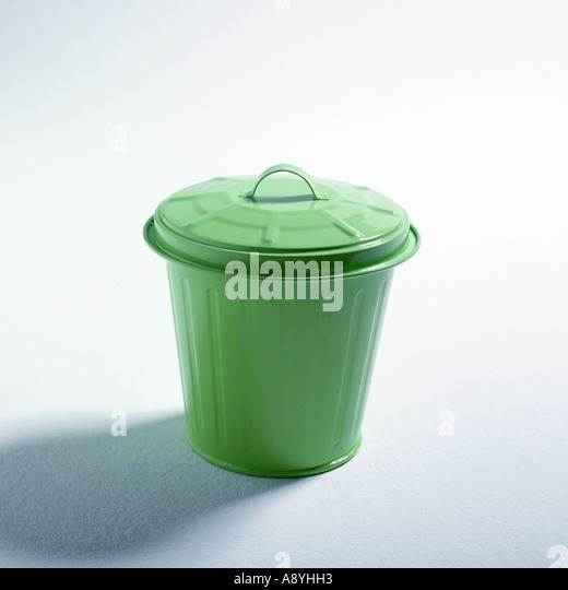 Green trash can - Stock Image