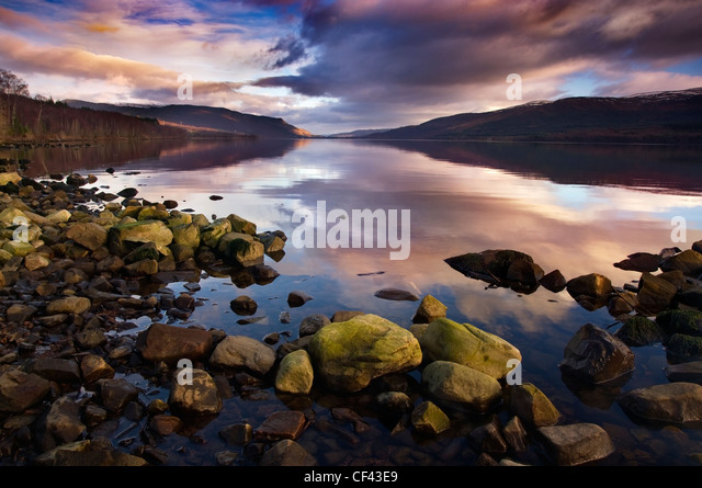 Late afternoon light on Loch Rannoch on Rannoch Moor. - Stock Image