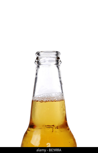 Beer bottle close up isolated against a white background - Stock-Bilder