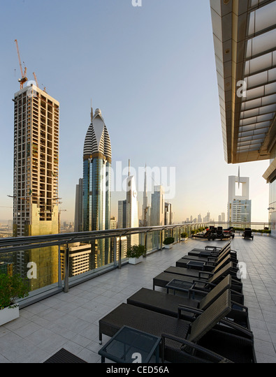 Roof-deck of a hotel, downtown Dubai, Dubai, United Arab Emirates, Middle East - Stock Image