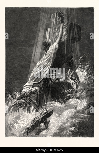 SAVED AND LOST. Religious print. - Stock Image