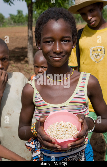 A young girl helping with the sowing of the maize crop in a Fulani compound in a village in Damango district, Ghana. - Stock Image